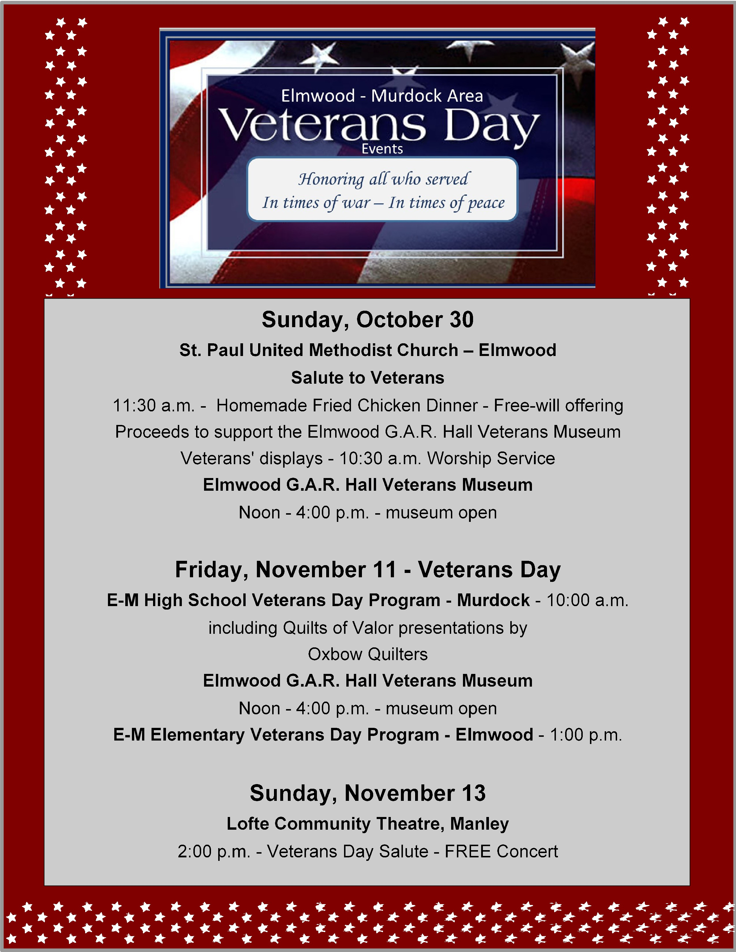 2016 Veterans Day events flyer page jpg