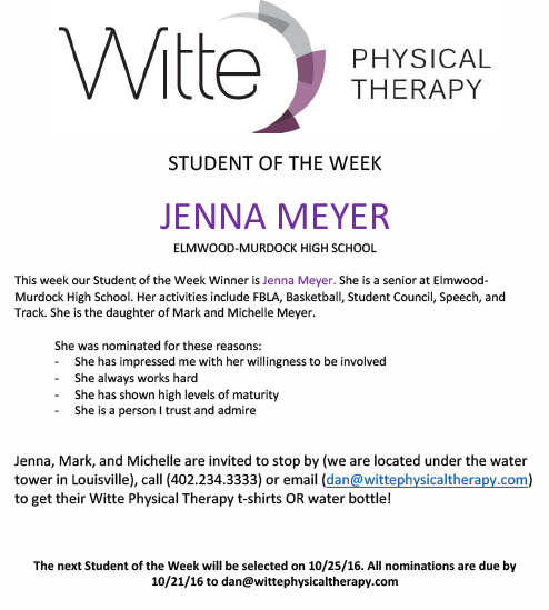 Student of the Week Selection 1016b