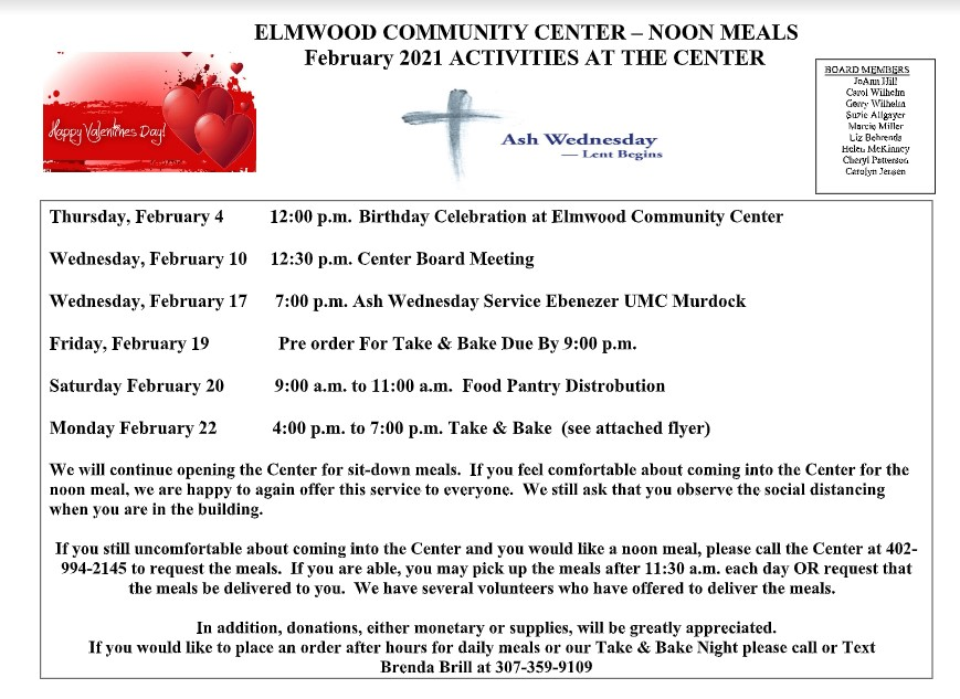 Elmwood Comnmunity Center Activities 0221