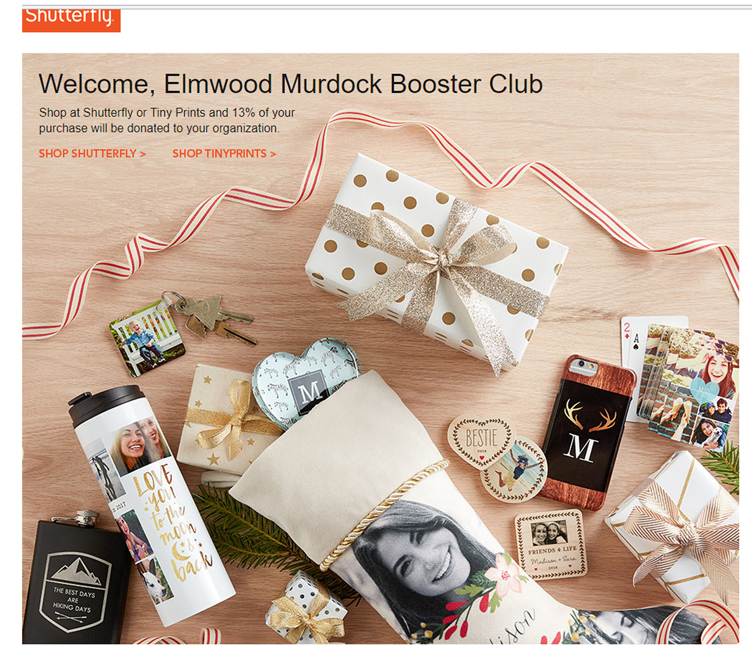 Shutterfly shopping page image