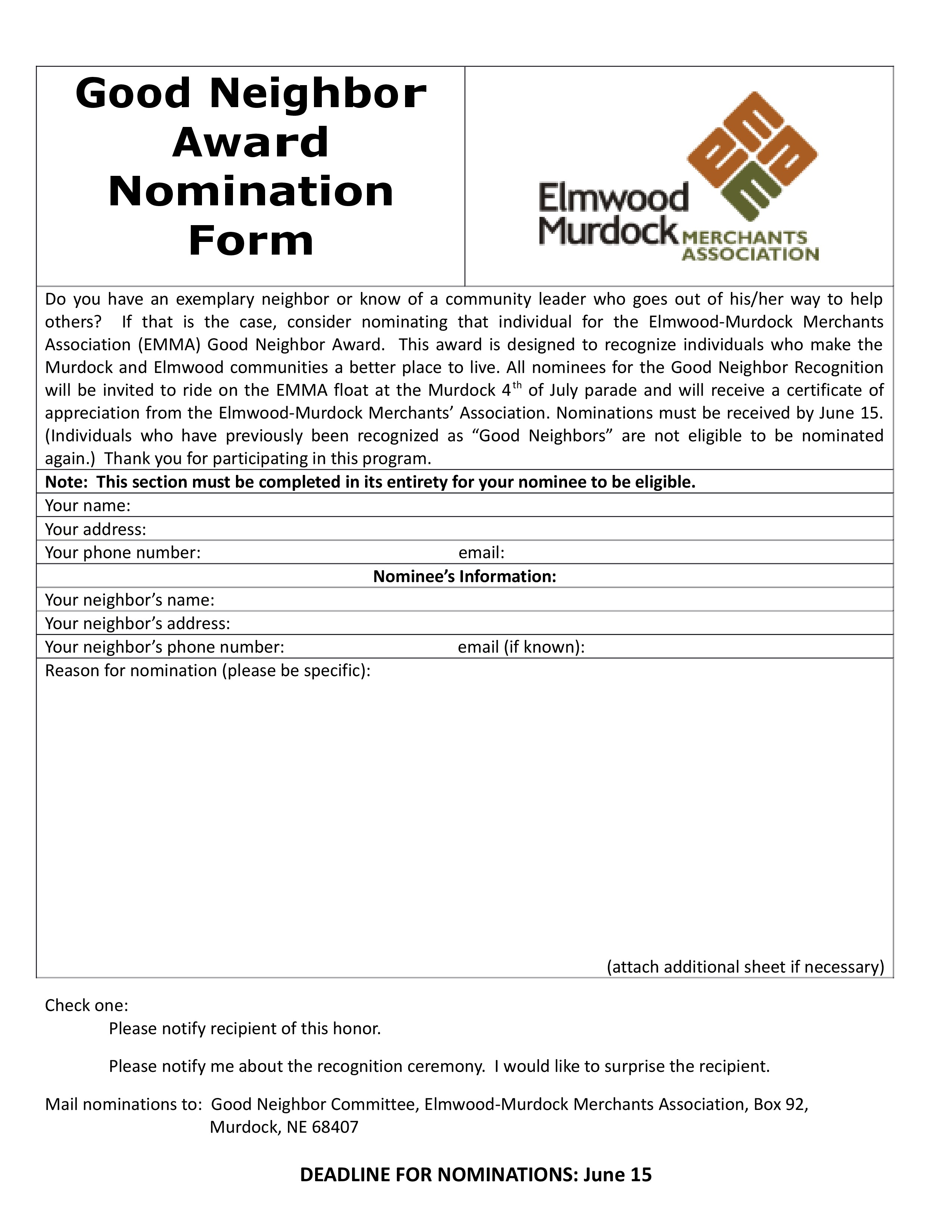 3 Good Neighbor Award Nomination Form