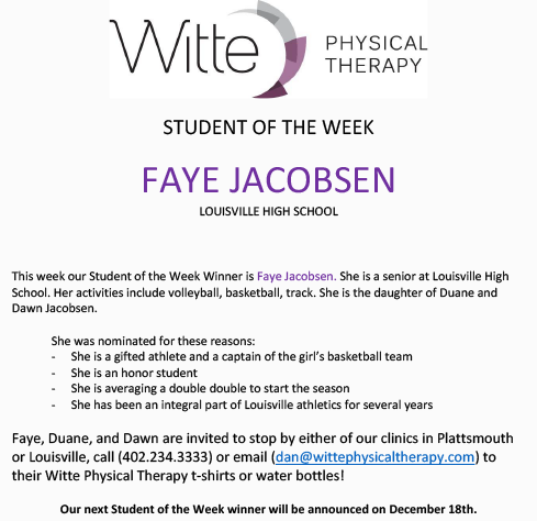 Student of the Week Selection 1211 2019