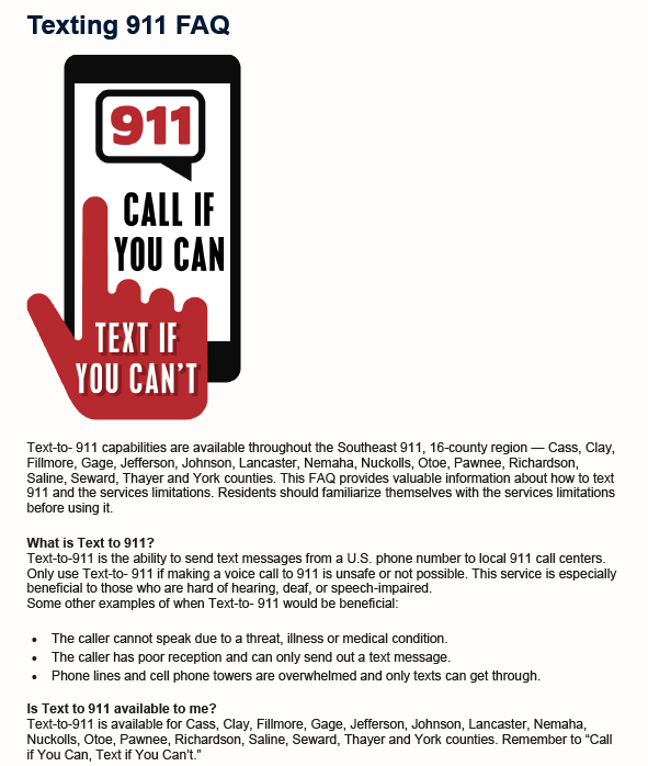 Southeast Region 911 Text to 911 FAQ 1