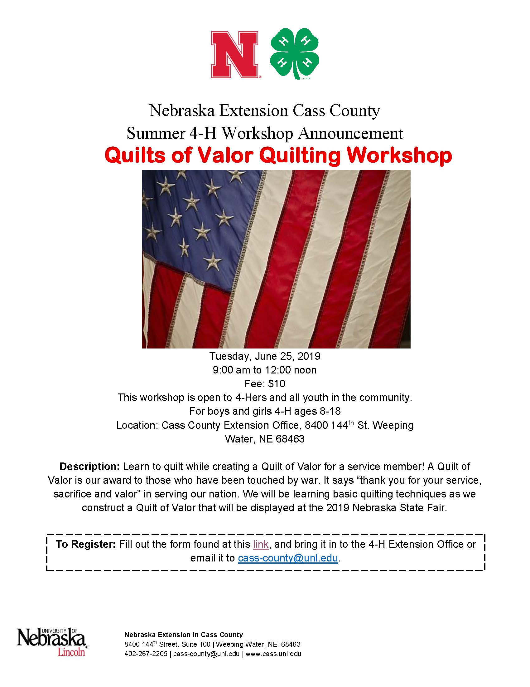 2019 Quilt of Valor Quilting Workshop