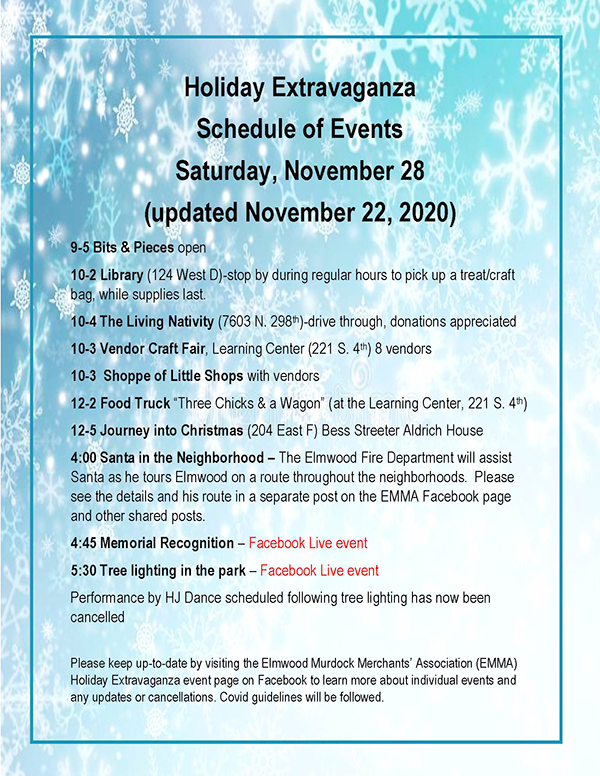 Holiday Extravaganza Schedule of Events as of Nov 22